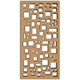 NISH! MDF Jali | Abstract Design | Can be used as Room Partitions, Screens, Dividers, Jali, Wall Art, Hanging, Décor, Doors (MDF Wood - 12mm thick, 4ft x 8ft, Natural Color, 1 Piece) for Living Room, Drawing Room, Kitchen Cabinet, Cupboards, Furniture