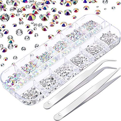 Cristallo per unghie ab e cristallo per unghie strass trasparenti arte unghie rotondo pietre preziose in vetro charm e 2 pinzette con scatola dell'organizzatore, ss6 8 10 12 16 20