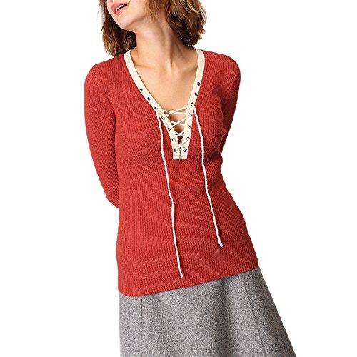 CICI RAN Frauen Sexy Lässige V-Ausschnitt Pullover Langarm Pullover Strick Slim Pullover Tops