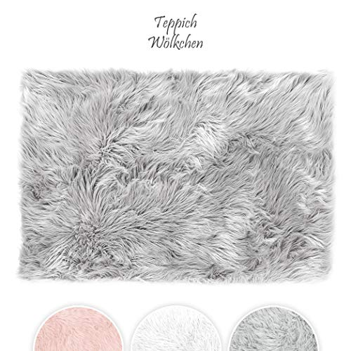 Teppich Wölkchen Tappeto Finta Pelle di Pecora Agnello Morbido e Peloso per Stanza da Letto o Soggiorno Tappeto Soffice o Copertura per Divani e