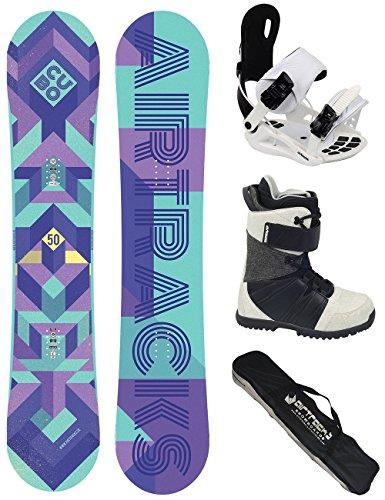 AIRTRACKS Damen Snowboard Set / Cubo Lady Rocker 145 + Snowboard Bindung Star W + Snowboardboots Star W 38 + Sb Bag