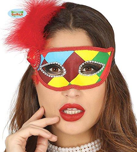 multicolor mit roter Federn Halbmaske Fasching Party (Rote Halbmaske Mit Federn)