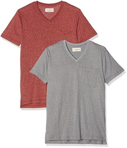 Mick Morrison Herren T-Shirt 2er Pack Grau (dunkelgrau Melange/brick 072)