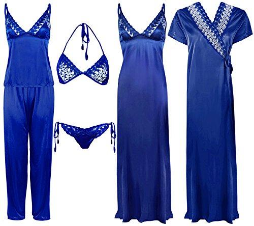 The Orange Tags -  Camicia da notte  - Collo a V  - Senza maniche  - Donna Royal Blue