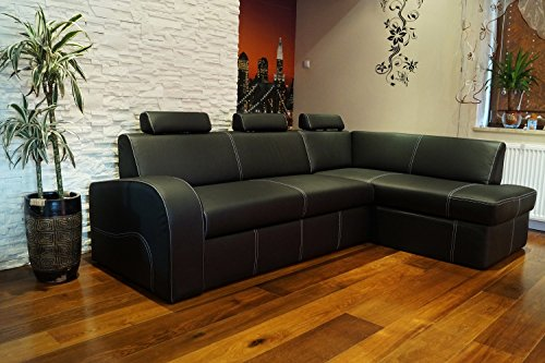 """Schwarz Echtleder Ecksofa \""""ANTALYA II 3z \"""" 245 x 164cm Sofa Couch mit Schlaffunktion , Bettkasten und Kopfstützen Eck Couch Echt Leder \""""Hermes Nero\"""" mit Ziernaht"""