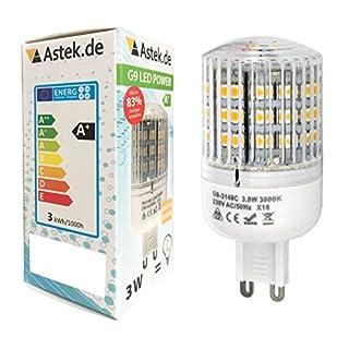 astek 5 x G9 LED 3 Watt Lampe wie 25W Lampe X16, 280 Lumen LED Leuchtmittel 360° Abstrahlwinkel, 230 Volt AC, warmweiß [Energieklasse A+]