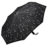 PLEMO Fancy Raindrops Automatic Folding Travel Umbrella Auto Open and Close, Black