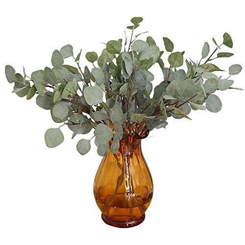 3 piezas de tallos verdes artificiales de plata con hoja de eucalipto...