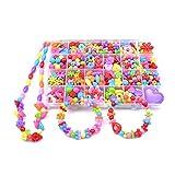 JER Bunte DIY String Perlen Verschiedene Arten und Formen Multi Color Acryl Perlen Kinderketten Armband Handwerk mit Plastikkasten 520Stk OfficeProducts