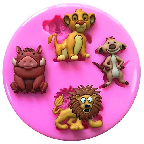 Fairie Blessings, Silikonform für Kuchendekorationen, Motiv: Der König der Löwen, Simba, Timon, Pumbaa und Mufasa, für Dekorationen aus Zuckerguss usw.