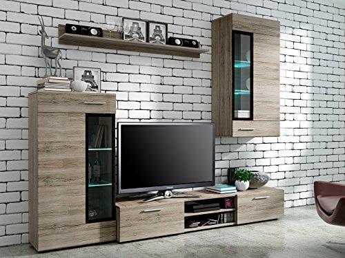 Wohnwand Wohnzimmer Set natur Möbel Schrank Lowboard Regal Vitrine NEU KALUGA