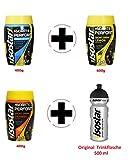 Isostar Hydrate & Perform Grapefruit - Zitrone - Orange - Pulver | 3er Angebotspack + Original Trinkflasche