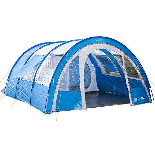 skandika Kemi 4 - 16050 - Tente tunnel familiale - 4 personnes - 480x340 cm (Bleu/Gris)