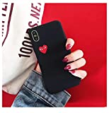 Qinddoo Luxury Brand CDG Play comme des Garcons Love Heart Matte Case Phone Cover for iphone 6 s 7 8 Plus X XR XS Max 10 Hard Case-Black,for iPhone 8 Plus