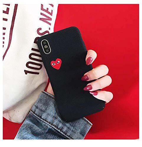Qinddoo Luxus Marke CDG Spielen Comme des Garcons Liebe Herz Matte Fall Telefon Abdeckung Für iPhone 6 s 7 8 Plus X XR XS Max 10 Hard Case-Schwarz, für iPhone XR