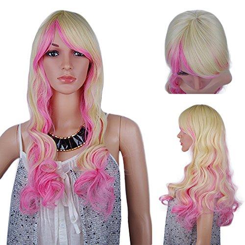 spretty Schöne natürlich Perücke lang gewellt Perücken Rosa Gelb Mix Farbe für Frauen Cosplay und den täglichen Kleid