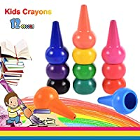 Anteel Toddler Crayons, 12 Colors Finger Crayons Painting Pencil, Stackable, Easier Palm-Grip, Safe and Suitable for Kids, Child, Newborn Babies, Preschool Teacher and Parenting Painting