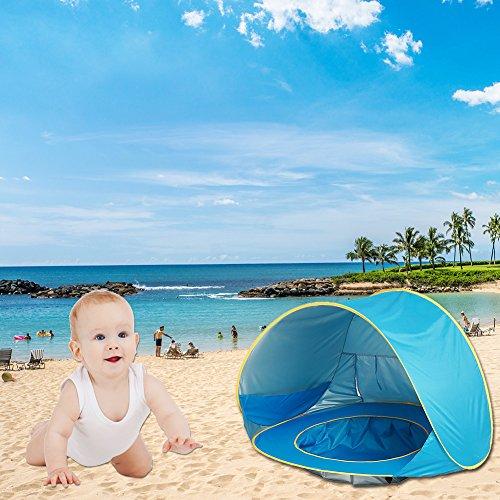 Baby Strandzelt Pop-up Tragbar Faltbar Strandmuschel Baby Zelt mit Strand Pool (B)