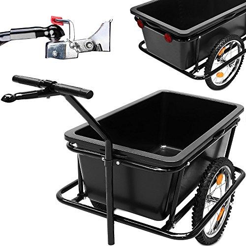 Fahrradanhänger mit 90 Liter Kunststoffwanne inkl. Kupplung – Lastenanhänger Transportanhänger Anhänger Handwagen