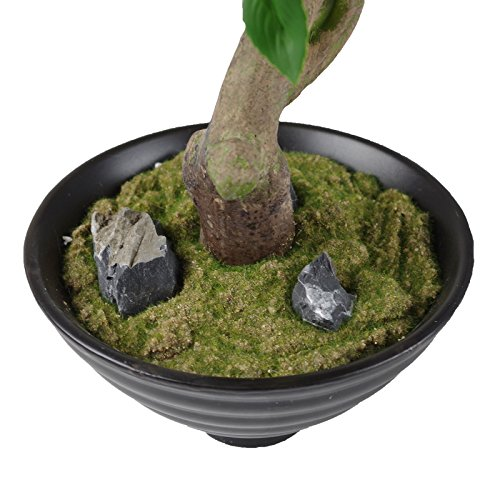 Ficus Kunstblume grün mit Keramikschale 40cm Dekopflanze Grünpflanze Birkenfeige