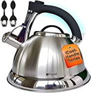 Whistling Tea Kettle with Quick Cool Handle, Surgical Stainless Steel Teapot for ALL Stovetops, 2 FREE Infusers Included, 2.