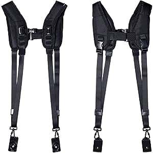 Azzuro® Quik rapide Double Dual bandoulière Sling ceinture pour appareil photo reflex numérique Canon Nikon Sony Noir LF310