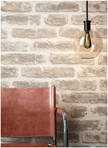 Steintapete Vliestapete Grau Creme, schöne edle Tapete im Steinoptik, moderne 3D Optik für Wohnzimmer, Schlafzimmer oder Küche inklusive Newroom Tapezier Profibroschüre, mit Tipps für perfekteWände - Tapete Ziegel Grau