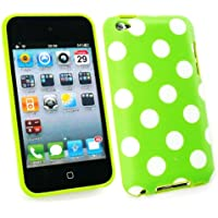 Emartbuy ® Apple Ipod Touch Quarta Generazione Dots Polka Gel Cover / Case Verde / Bianco