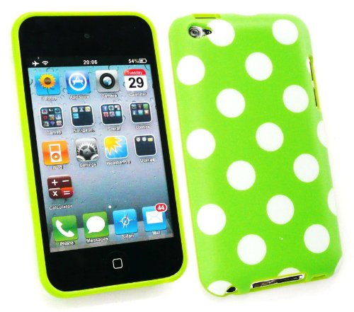 4th Ipod Screen Protector (Emartbuy ® Apple Ipod Touch 4Th Generation Lcd Screen Protector Und Polka Dots Gel Skin Cover / Case Grün / Weiß)