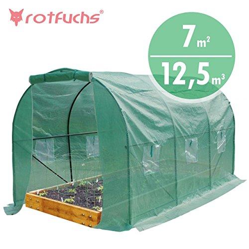 Rotfuchs® Foliengewächshaus 12,5 m³ Gewächshaus mit PE Gitterfolie Treibhaus Tomatengewächshaus Frühbeet Pflanzenhaus Gemüsegewächshaus Tunnel Grün