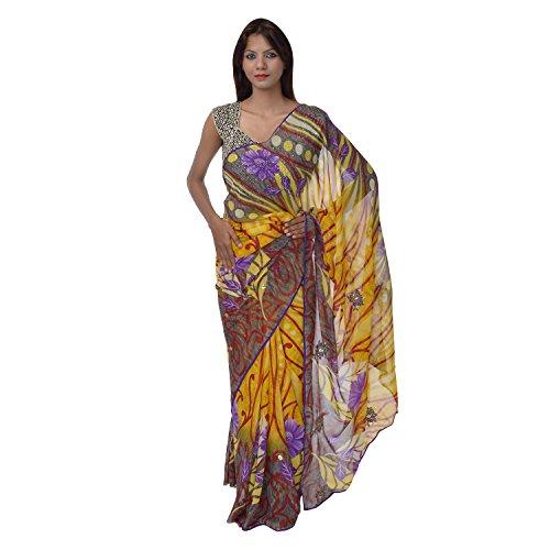 Saundarya Sarees Women Chiffon Printed Purple and Yellow Saree