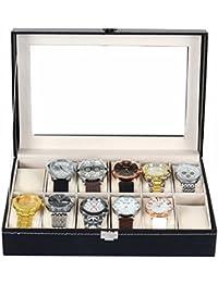 ZOGIN Caja de Almacenamiento de Reloj / Soporte de Exhibición de Relojes para Guardar 12 Pulseras o Relojes, Color Negro