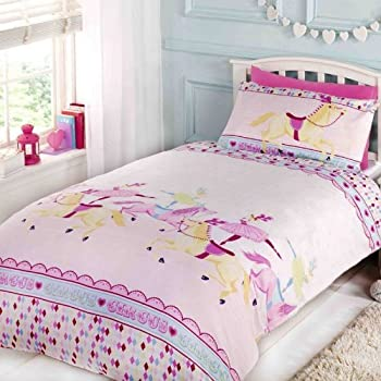 ballerina ballet dancer bed set featuring dancing ballerinas and pink hearts duvet cover. Black Bedroom Furniture Sets. Home Design Ideas