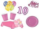 XXL Party Deko Set 10.Geburtstag Kindergeburtstag 54 teilig rosa Mädchen Party Geschirr Party Deko