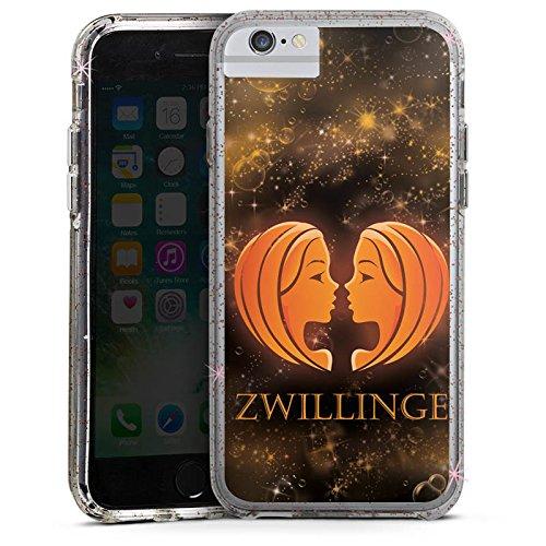 Apple iPhone 8 Bumper Hülle Bumper Case Glitzer Hülle Sternzeichen Zwillinge Esoterik Bumper Case Glitzer rose gold