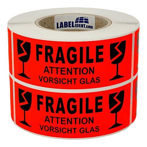 Labelident Warnetiketten (150 x 50 mm) - Fragile - Attention - Vorsicht Glas - 1000 Versandaufkleber auf Rolle, Papier leuchtrot, permanent haftend - Fragile Glas