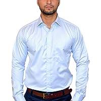 MSJ XIV Men's Premium Formal Shirt Striped Lining Light Blue (38)