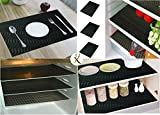 #6: Kuber Industries™ Refrigerator Mats/Fridge Mats/ Multi Purpose Mats/Drawer Mats/Place Mats Set of 6 Pcs (Black) Multi Purpose Use FRP017