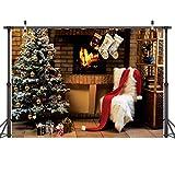 LYWYGG 7X5FT Frohe Weihnachten Grünen Weihnachtsbaum Foto Hintergründe Ziegelmauer Alten Braunen Kamin Nettes Sofa Fotografie Kulissen für Kind CP-72