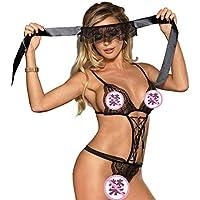 Y&XX Sexy corsé Liguero Conjunto de lencería para Mujeres Ropa de Dormir Camisola de Encaje Floral exótico,XXXXXL