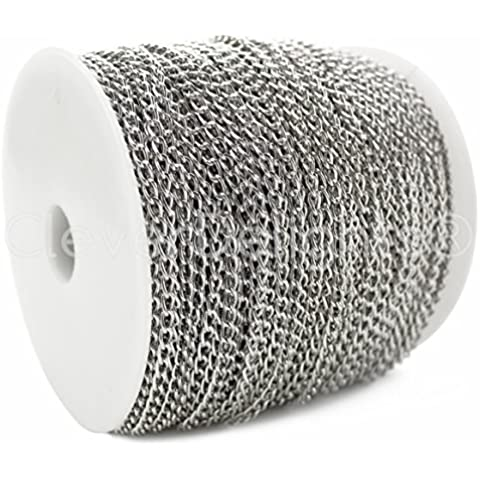 CleverDelights Curb Chain Spool - 3x5mm Link - Antique Silver (Platinum) Color - 330 Feet - Bulk Chain by CleverDelights