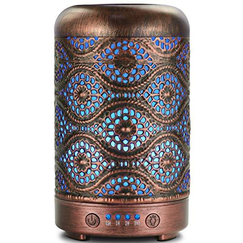 SALKING Aroma Diffuser Luftbefeuchter Humidifier 100ml, Handgefertigt Metall Diffusor für ätherische Öle, Automatisch Power-Off, 7 Farbe Licht Vintage Aromatherapie für Baby, Zuhause Büro Oder Yoga