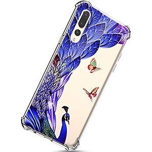 Herbests Kompatibel mit Huawei P20 Pro Hülle, Schutzhülle Tasche Hüllen Handyhülle Crystal Clear Transparent TPU Silikon Handyhülle Kratzfest Durchsichtige Handytasche,Blau Feder