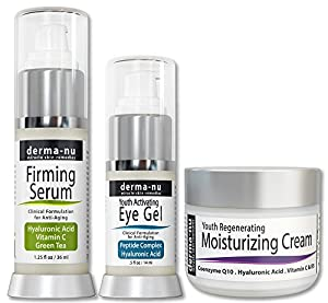 Skin Care Products for Anti Aging - Facial Treatments for the Skin - The Most Effective Skincare for Wrinkles - Hyaluronic Acid Serum – Eye Wrinkle Cream - Anti Aging Skin Cream - 3 Piece Skin Care Kit