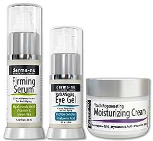 Prodotti per la cura della pelle per anti invecchiamento - Trattamenti viso per la pelle - il più efficace per le rughe Skincare - acido ialuronico siero - Eye crema antirughe - Anti Aging Cream Skin - 3 pezzi kit di cura della pelle ...