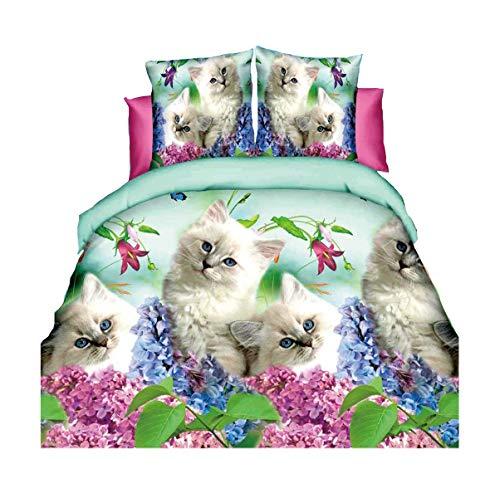HOHAI - Juego de Cama con Funda de edredón y Fundas de Almohada para Cama de Matrimonio, diseño de Gatos y Animales en 3D, Color Blanco, 4 Unidades