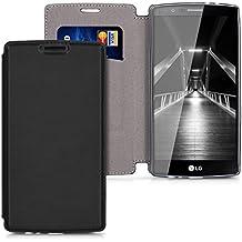 kwmobile Funda para LG G4 - Flip cover Case para móvil en cuero sintético - Estilo libro plegable en negro