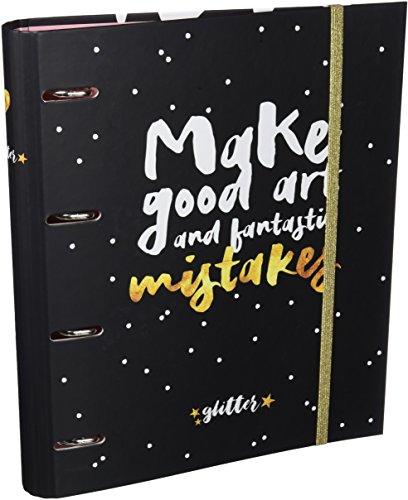 Grupo Erik Editores Glitter Stars - Carpeta con 4 anillas troquelada, 32 x 27.5 cm