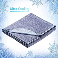Elegear Selbstkühlende Decke Kühldecke Decke - Zweiseitige Decke mit Japanische Q-Max 0.4 Kühlfasern Absorbieren Körperwärme Kühldecke Kuscheldecke Sofadecke Reisedecke 150 * 200cm Blau