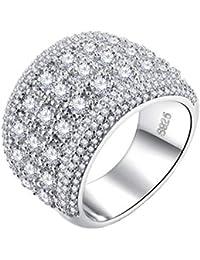 PAMTIER - Anillo de compromiso para mujer de banda ancha con circonita y piedra preciosa,